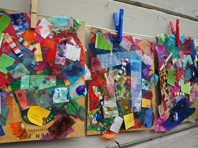 Celebrating spring recycled collage glue paper glue for Art and craft for kids from waste material